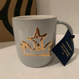 STARBUCKS Anniversary GOLD SIREN CROWN Coffee Mug